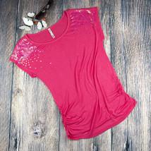 GINGER G sz S sequin shoulders short sleeves boat neck blouse top EUC (U... - $5.94