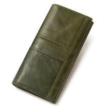 Kavis Women's Leather RFID Long Purse Clutch Wallet BP806 (Green) - $32.00
