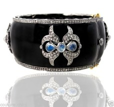 925 Sterling Silver Pave 3.9ct Diamond Enamel Bangle Bracelet 14k Gold Moonstone - $1,556.35