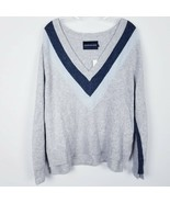 CALVIN KLEIN Deep V-Neck Sweater Color Block Soft Split Sides Women's si... - $29.69
