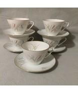 Edelstein Bavaria MCM Porcelain Tea Cups & Saucers Pastel Wheat #20141 S... - $35.00