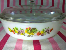 """Anchor Hocking Fire King 8"""" Chanticleer Casserole Dish • Darling Rooster... - $18.00"""