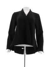 H Halston Long Slv Open Front Jacket Seam Black 14 NEW A303200 - $39.58