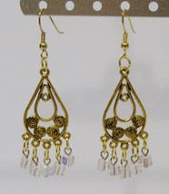 handmade gold and pink crystal bead filigree drop earrings - $9.00