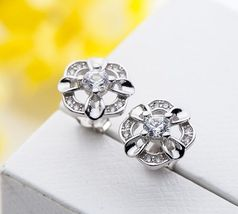 Fashion 925 Sterling Silver with cz flower studs earrings  for women Jew... - $8.39+
