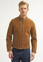 New Men's leather jacket, Brown Suede Leather Jacket - $159.99+