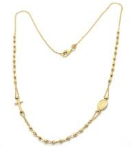 Collar Rosario Oro Amarillo 750 18K, Medalla Milagrosa Cruz, Esferas Fea... - $617.91