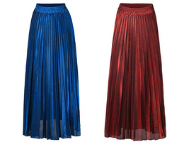 SILVER SKIRT Pleated Skirt Women High Waisted Full Pleated Party Skirt US0-US18 image 3