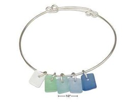 SILVER PLATED SEA MIST BLUE GREEN FROST SEA GLASS BANGLE BRACELET - $33.60