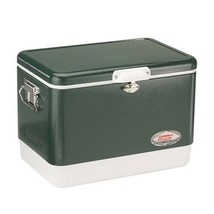 Steel Coleman Cooler Belted Vintage 54 Qt Ice Chest Camping Metal Outdoo... - £109.02 GBP