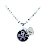 Custom Esophageal Cancer Awareness Ribbon Silver Necklace Jewelry Initial Family - $13.94