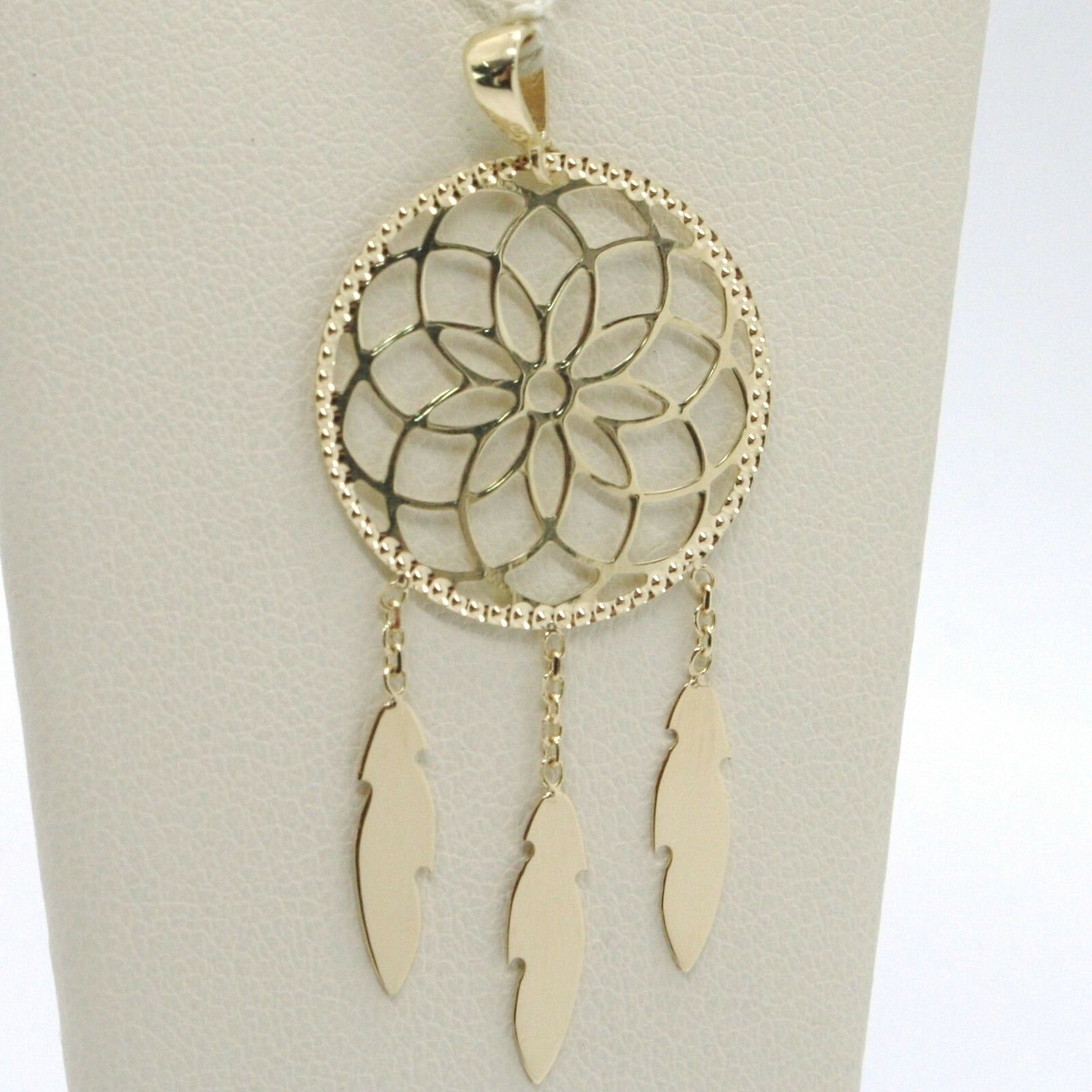 18K YELLOW GOLD DREAMCATCHER PENDANT, FEATHER, MADE IN ITALY, 1.8 INCHES, 45 MM