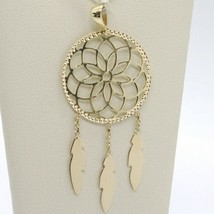 18K YELLOW GOLD DREAMCATCHER PENDANT, FEATHER, MADE IN ITALY, 1.8 INCHES, 45 MM image 1