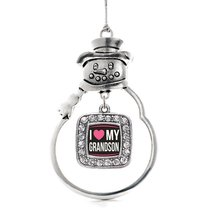 Inspired Silver I Love my Grandson Classic Snowman Holiday Decoration Christmas  - $14.69
