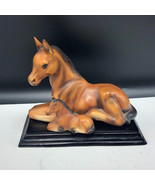 JAPAN HORSE FIGURINE statue sculpture mother foal mustang pony mare porc... - $43.56
