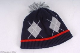 Gymboree Argyle Stocking Hat 6-12 Month Navy Pom-pom Lined 100% Cotton N... - $6.19