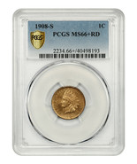 1908-S 1c PCGS MS66+ RD - Popular Key Date - Tough with Red Designation - $6,877.30