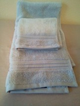FIELDCREST 2Pc  Towel Set 100%Cotton 1 HAND Towel & 1 Washcloth Glowing Blue - image 1