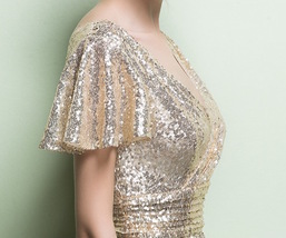 GOLD Maxi Sequin Dress Cap Sleeve High Waist Retro Style Maxi Long Sequin Dress image 9