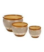 EARTH TONE TRIM PLANTER TRIO Set of 3 Indoor Outdoor Ceramic Flower Pots - $43.99