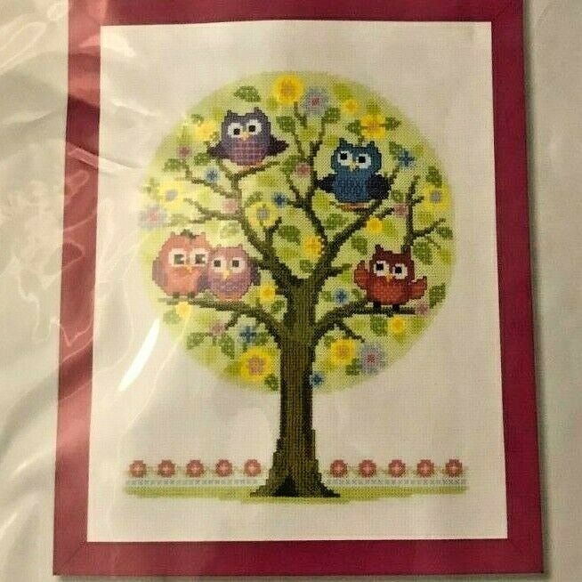 """VERVACO Little Owls Tree Counted Cross Stitch DIY Kit 9.2"""" x 12"""" NEW Embroidery - $16.99"""
