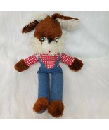"""18"""" Vintage Brown White Bunny Rabbit in Overalls Plush Stuffed Toy B227 - $34.99"""