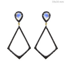 2.23ct Black Diamond Pave 14k Gold Moonstone .925 Silver Dangle Earrings... - $751.15