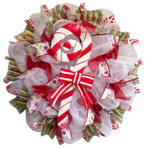 Candy Cane Christmas Handmade Deco Mesh Wreath - $94.99