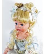 Doll Blond 18 Inches Tall Hair Blue Eyes Porcelain Lovey Blue Dress (B16... - $69.99