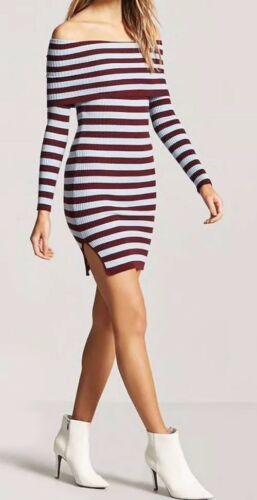 Forever 21 Ribbed Rib Off The Shoulder Midi Dress Blue Burgundy Stripe S NEW