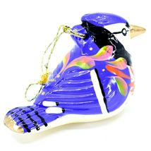 Handcrafted Painted Ceramic Blue Jay Confetti Ornament Made in Peru image 3