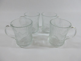 Set of 4 Glcoloc Canterbury Crocus Flower Clear Glass Cups Mugs France - $39.55