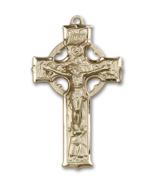 Irish Celtic 1 3/8 x 3/4 Inch 14kt Gold Crucifix Cross Necklace Pendant - $1,099.99