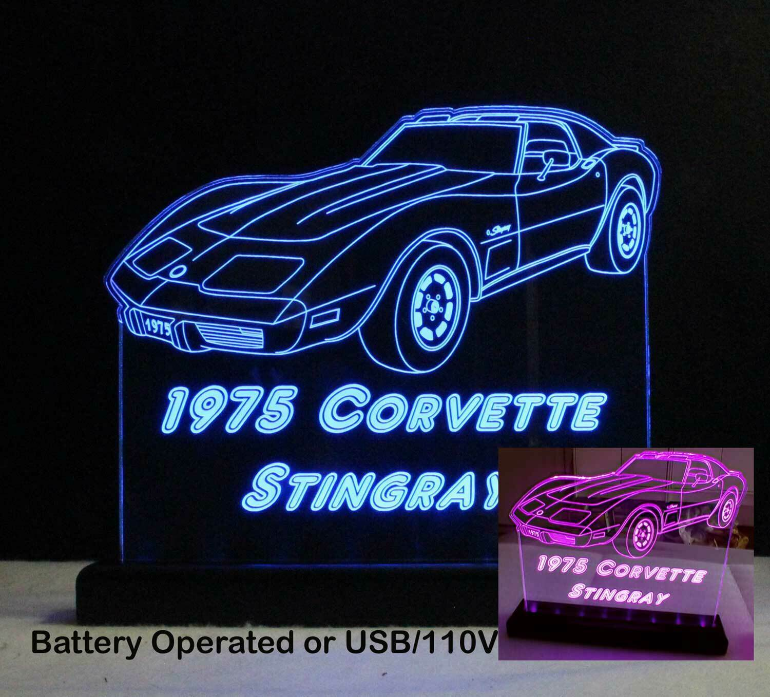 Primary image for Personalized Corvette sign - Rechargeable Battery/USB/110V or USB/110V only