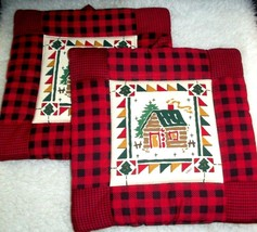 2 Potholders Trivets Table Pads Rustic Log Cabin Farmhouse Wall Art Host... - $14.84
