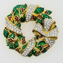 Swarovski Christmas Wreath Pin Brooch Gold Tone Crystals Berries Bow 1 3... - $95.79