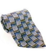 J Garcia Men's Dress Necktie 100% Silk Geometric Blue Brown Gray - $19.80