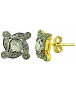 Estate Antique Inspired  Silver 0.70Ct. Rose/Anti. Cut Diamond Earrings ... - $212.29