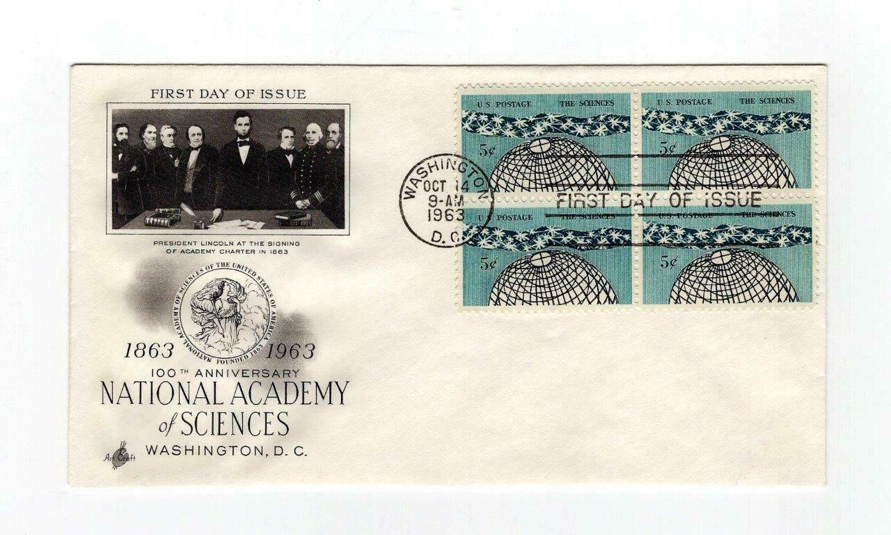 FDC ENVELOPE-100 ANNIVERSARY NATIONAL ACADEMY OF SCIENCE 4BL 1963 ART CRAFT BK13