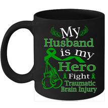 TBI Awareness 11oz coffee mug Green Ribbon support for my Husband - $15.95