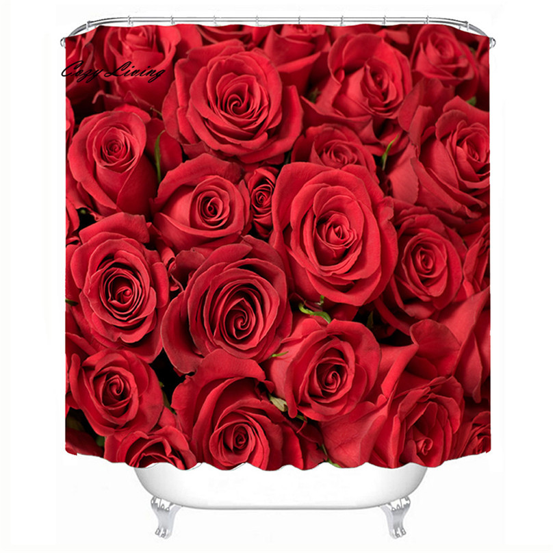 Scenic Shower Curtains 150*180cm Roses Waterproof Polyester Bathroom Shower Curt - $32.04