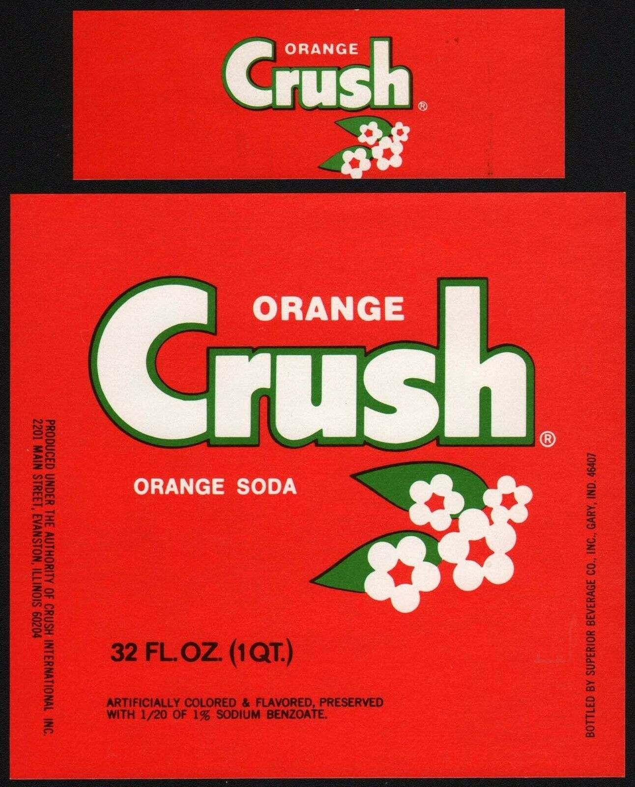 Primary image for Vintage soda pop bottle label ORANGE CRUSH 32oz unused new old stock n-mint+