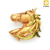 Horse Brooches Women Brown Black Enamel Alloy Animal Weddings Banquet Br... - $9.63