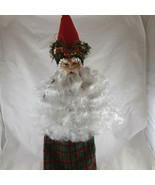 Santa Wine Bottle Cover Table or Tree top Christmas Handcrafted One of a... - $14.84
