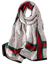 JIUMAN Women's 100% Mulberry Silk Scarf Long Satin Scarf Fashion Designer Scarf - $22.89+