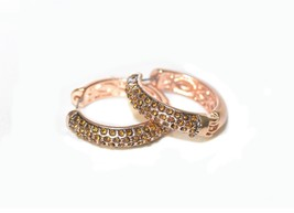 1/3 Carat TW Brown and White Hoop Earrings in 14K Rose Gold Plated - $12.73
