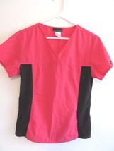 Cherokee Hot Pink Black Multi Color Solid Pattern Scrub Uniform Top! Sz S! - $14.50