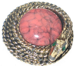 VINTAGE COILED SNAKE PIN WRAPPED AROUND CORAL ART GLASS - £37.10 GBP