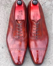 Handmade Men's Burgundy Leather Two Tone Brogues Dress/Formal Oxford Leather Sho image 3