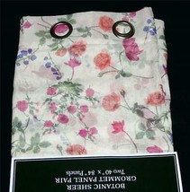 2 Laura Ashley BOTANIC Floral Sheer Grommet Window Panels 40 x 84 EA NWT 2 Avail - $42.99